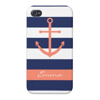 Marinblått och korall ankra Monogramfodral iPhone 4 Cover