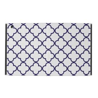 Marinblått Quatrefoil mönster iPad Folio Skal