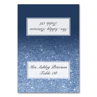 Marinblått ställe för bröllop för glitterpionombre bordsnummer
