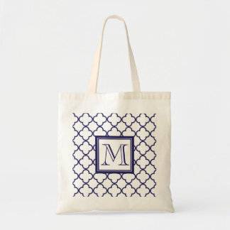 Marinblått vit Quatrefoil | din Monogram Tote Bag