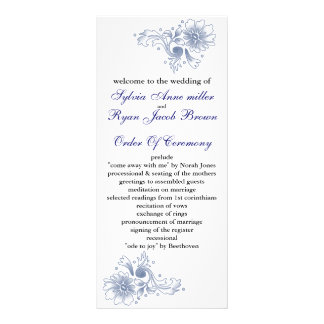 marinbröllopsprogram anpassningsbara rackkort