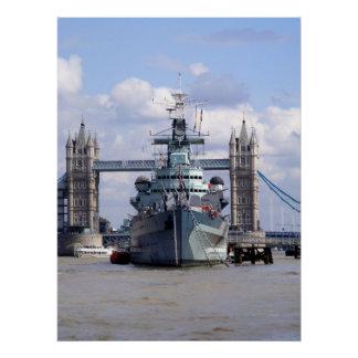 Marinfrakt i Thamesen London Poster