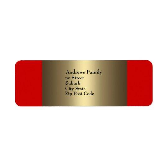 Märk rött & brons enkelt returadress etikett