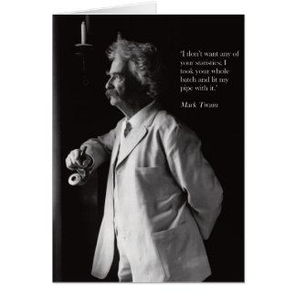Mark Twain leda i rör att röka kortet Hälsningskort