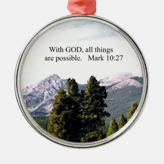Markera 10:27 med guden, alla saker är möjligt julgransprydnad metall