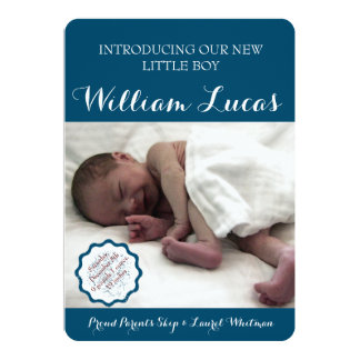 Markera pojkefödelsemeddelandet 12,7 x 17,8 cm inbjudningskort