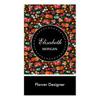 Märkes- färgrik blommönster för blomma set av standard visitkort