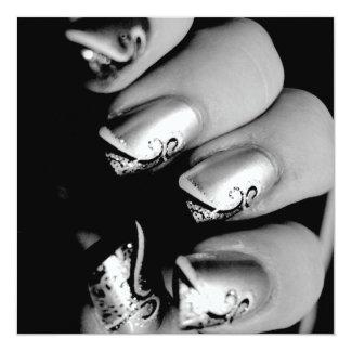 Märkes- Fingernails Fyrkantigt 13,3 Cm Inbjudningskort