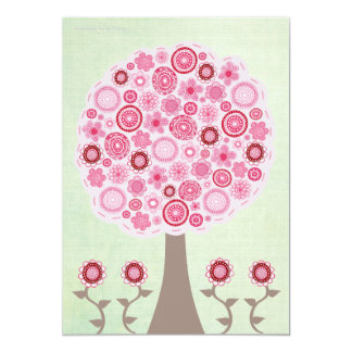 Märkes- rosa trädinbjudan för 30års födelsedag 12,7 x 17,8 cm inbjudningskort