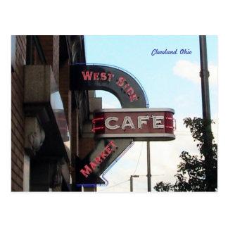 Marknadsföra cafen undertecknar, den Cleveland Vykort