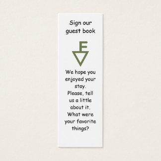 Markör för bok för Fisher familjgäst Litet Visitkort