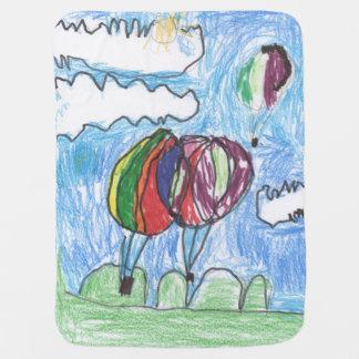 Markör och crayon för luftballongbarnkonstverk bebisfilt
