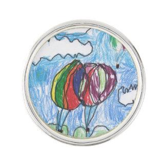 Markör och crayon för luftballongbarnkonstverk rockslagsnål