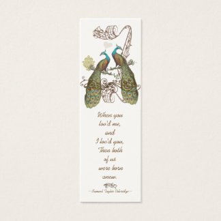 Märkre för bröllop för vintagefågelpåfågel litet visitkort