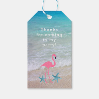 Märkre för favör för Flamingostrandparty Pack Av Presentetiketter