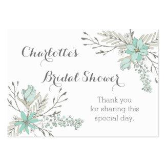 Märkre för favör för himmelblåa blommormöhippa set av breda visitkort