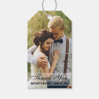 Märkre för gåva för favör för brölloptackfoto presentetikett