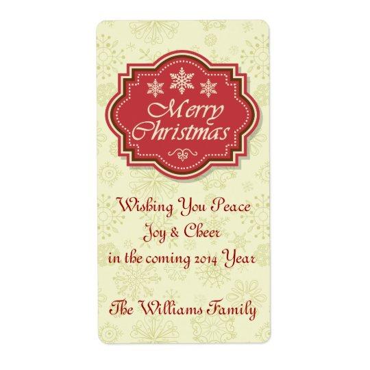 Märkre för gåva för god julvinetikett fraktsedel