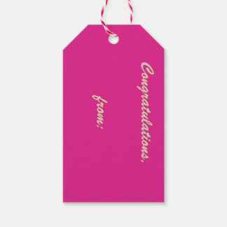Märkre för gåva för grattis för Orchid rosa (guld Presentetikett