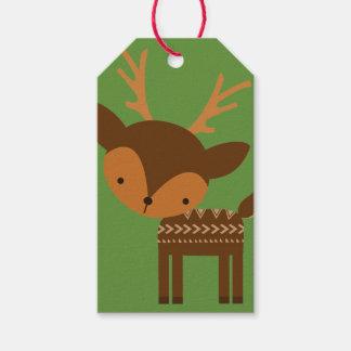 Märkre för gåva för julrengrönt beställnings- presentetikett