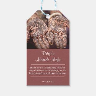 Märkre för gåva för Mehndi (Henna) natttack Presentetikett