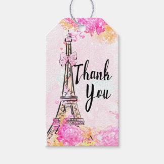 Märkre för gåva för Paris rosa blom- Presentetikett