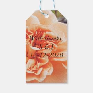 Märkre för gåva för persikabrölloptema presentetikett