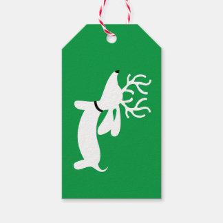 Märkre för gåva för rentaxjul på grönt presentetikett
