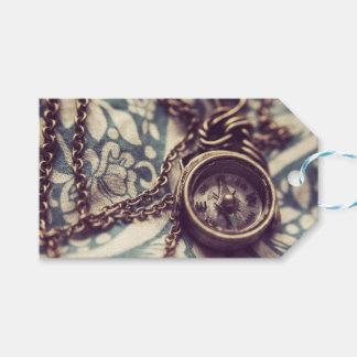 Märkre för gåva för Steampunk kompasshalsband Presentetikett