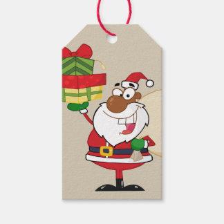 Märkre för gåva för svart Santa hållande gåvor Presentetikett