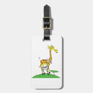 Märkre för giraff och för ett sebrabagage bagagebricka