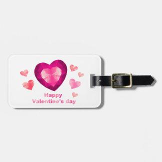 Märkre för hjärtor för lyckliga valentin dag röda bagagebricka