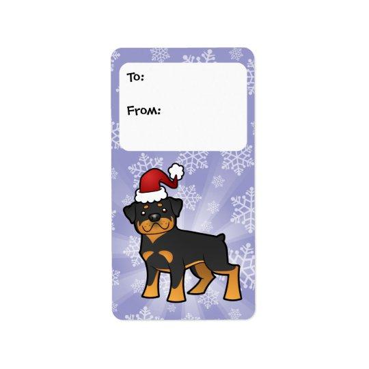 Märkre för julRottweiler gåva Adressetikett