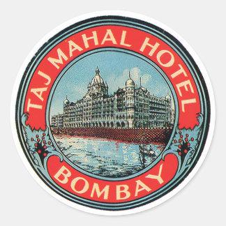 Märkre för Taj Mahal hotellBombay bagage Runt Klistermärke