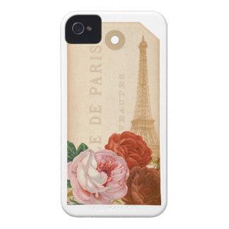 Märkre för vintageParis blom- paket iPhone 4 Case-Mate Skydd