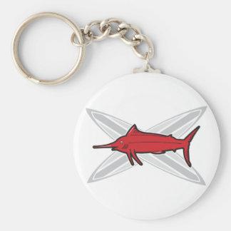 Marlin och surfingbrädor rund nyckelring