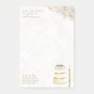 Marmor för märkes- bageri för bröllopstårta guld- post-it block