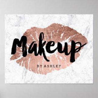Marmor för typografi för läppar för Makeupkonstnär Poster