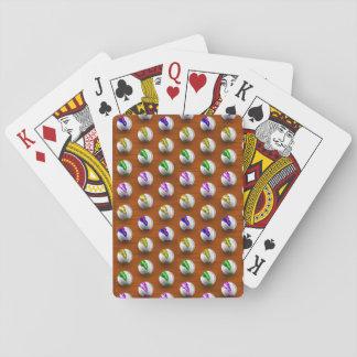 Marmorar på det Wood mönster Spelkort