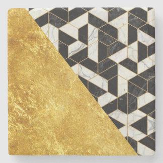Marmordesign med guld + Svart marmorstenkustfartyg Stenunderlägg