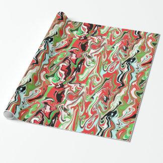 Marmorerad röd grön vit för julgåvasjalen virvlar presentpapper