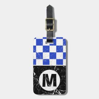 Marmorerat Retro Monogrammed för blåttMetro Bagagebricka