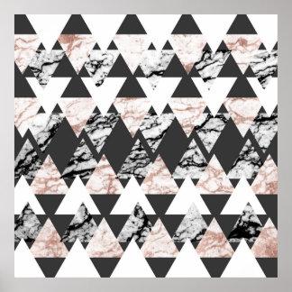 MarmorGeo för modern svart vit ros guld- trianglar Poster