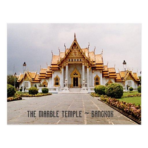 Marmortempel av guld över det lejona Bangkok för Vykort