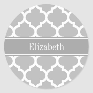 Marockansk #5 mörk för grå vit - grå känd Monogram Runt Klistermärke