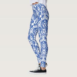 Marockansk blått- och vitCasbah damast Leggings