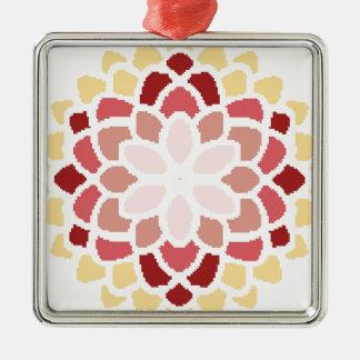 Marockansk blom silverfärgad fyrkantigt julgransprydnad