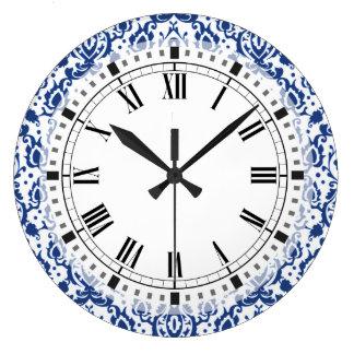 Marockansk Casbah för blått och för vit damast Stor Klocka
