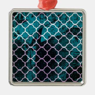 Marockansk design för Grungeblått Silverfärgad Fyrkantigt Julgransprydnad