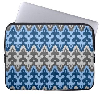 Marockansk Ikat damast, blått och grått/grå färg Laptop Sleeve